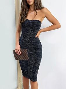 Vestidos ajustados Vestido sin mangas sin mangas sin espalda plisado sin espalda plisado negro