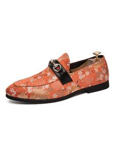 Mens Loafer Shoes Слипоны с острым носом Flowral Печатные слипоны Mens Loafer Shoes