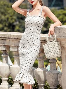 Vestidos ajustados Lunares Tirantes blancos Cuello Vestido de lápiz sexy en capas plisado