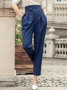 Pantalones Pantalones de cintura levantada en capas de poliéster plisado azul profundo