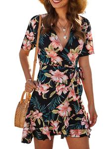 Vestido de verano con cuello en V azul con cordones Vestido de playa de poliéster estampado floral
