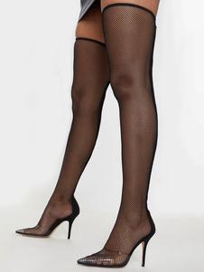 Stivali sopra il ginocchio Stivali da donna a punta in gomma scamosciata micro con punta in gomma nera