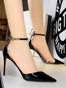 Eleganti scarpe da donna nere con cinturino a spillo e cinturino a punta regolabili