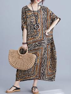 Макси платья с короткими рукавами Желтое леопардовое платье с длинным рукавом из хлопка с длинными рукавами