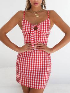 فستان الصيف الأشرطة الرقبة الانحناء منقوشة فستان الشاطئ الأحمر