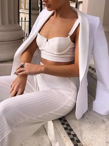 Conjuntos de duas peças Tiras de algodão de poliéster branco no pescoço Roupa casual para mulheres