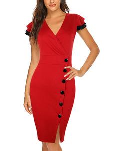 Bodycon Vestidos Vermelho Mangas Curtas Sexy Com Decote Em V Slim Fit Vestido Vestido Bainha