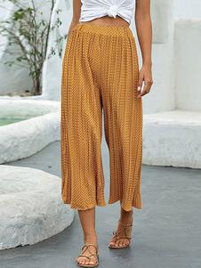 Pantalones Pantalón ancho de lunares de poliéster plisado amarillo