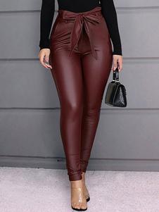 Pantalones Borgoña Cuero de PU Levantado Cónico Ajustado Color sólido Cintura Pantalones