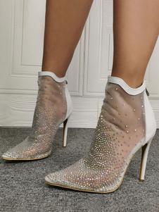 Verano blanco Botas punta estrecha Rhinestones Transparente malla blanca botas del tobillo