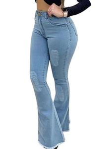 Pants Blue Jeans botão cintura Levantado Fly Flared Womens Calças