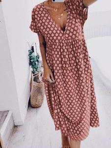 فستان صيفي بورجوندي فستان بوليستر برقبة على شكل V