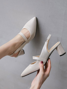 Tacchi medio-bassi per donna Elegante punta a punta Tacco grosso Slip-On Elegante Ecru Bianco Pompe