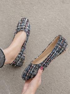 Zapatillas de ballet burdeos Zapatos de mujer de punta redonda de poliéster