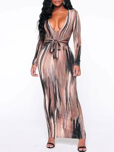 Bodycon Vestidos Café Marrom Mangas compridas Lace Up Sexy Decote em V Body-consciente Bainha Vestido