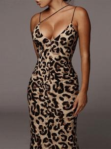 Bodycon Vestidos Leopard Animal Print Sem Mangas Sexy Com Decote Em V Midi Vestido Bainha Vestido
