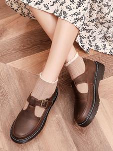 Calçado de Lolita clássico Bombas de Lolita de couro PU de dedo do pé redondo