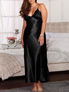 Vestido negro de dormir Vestido de encaje con cuello en V Correas sin mangas Lencería