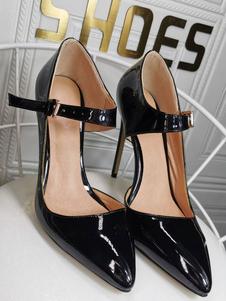 Scarpe da donna nere con tacco a spillo e tacco alto a punta con tacco a punta Classic Plus Size