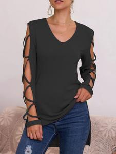 Camisetas de manga larga Poliéster negro Hombro abierto con cuello en V Mujer Camiseta
