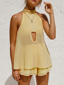 Два комплекта желтый полиэстер вырезать сексуальный весна без рукавов ремни шеи женщин топ и шорты