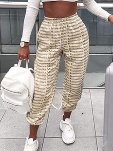 Pantalones Albaricoque Poliéster Cintura elevada Letras Pantalones estampados