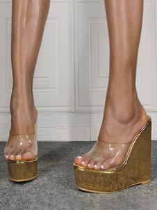 Sandali con zeppa per donna Simple Peep Toe Platforms Sandali con zeppa trasparenti da donna