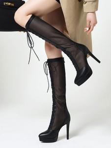 Stivali estivi neri Stivali estivi al ginocchio con punta davanti e punta a punta