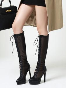 أحذية الصيف الأسود أشار اصبع القدم الجبهة الرباط الركبة أحذية الصيف