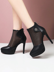Stivali estivi neri con punta a punta Dettagli in metallo Stivaletti estivi con tacco a spillo