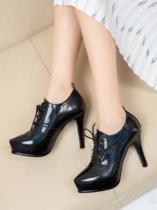 Stivaletti da donna in vernice nera PU punta a punta tacco a spillo tacco basso stivali corti