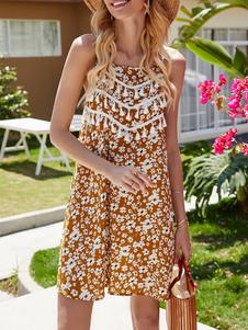 Boho платье ремни шеи без рукавов Цвет Блок Backless Цветочные печати Fringe пляж платье