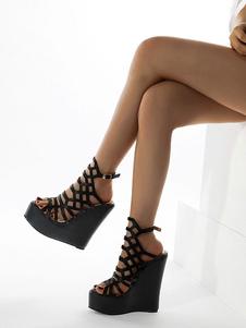 Scarpe con zeppa per signora Sexy Punta tonda con zeppa Cinturino con tacco Regolabile Scarpe con zeppa nere da donna