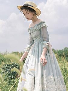 Лолита OP Платье в стиле кантри-пастырское Воспоминание о прошлом Светло-зеленые Лолита Цельные платья