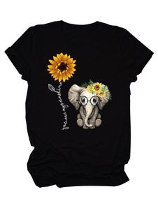 Camisetas de manga corta Camiseta negra de algodón y poliéster con cuello joya para mujer