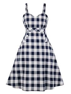 Vestido retrô, 1950, correias no pescoço em camadas sem mangas da mulher xadrez vestido Rockabilly
