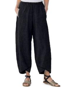 Pantalones de Womne Pantalones anchos de algodón de poliéster color caqui