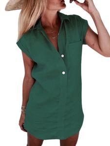 Camisa para mulheres Verde Decote em V Casual Manga curta Poliéster Algodão Tops