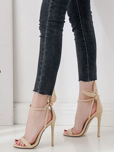 Sandálias femininas Salto agulha Toe quadrado Damasco Tiras no tornozelo Sandálias ajustáveis