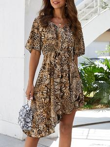 Vestido de verão Café Marrom Com Decote Em V Plissado Leopardo Impressão Vestido de Praia em Poliéster