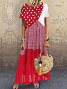 فساتين ماكسي بوهيمية اكمام قصيرة سبليت بوليستر فستان طويل