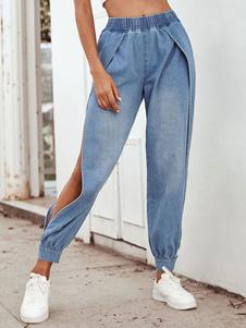 Pantalones Pantalón de cintura vaquera con abertura en la parte delantera azul