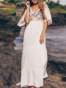 المرأة التكتيم طباعة الأزهار البيضاء المطرزة نصف الأكمام نصف الأكمام البوليستر الصيف ملابس السباحة مثير