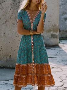 Vestido de verano con cuello en V estampado floral plisado azul cian hasta la rodilla vestido de playa