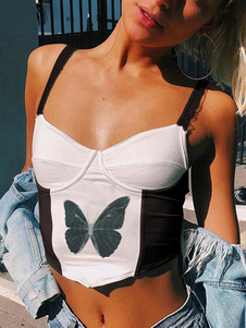 Top corto da donna senza spalline bianche senza spalline Collo sexy color block Stampa animalier Pieghettato Top in poliestere