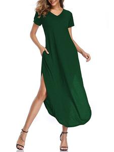 Vestidos largos Mangas cortas Vestido de algodón hasta el suelo con cuello en V burdeos