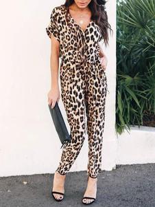 Leopardo Estampa de leopardo Decote em V Mangas curtas Botões Poliéster Cônico Ajuste Verão Uma peça Roupa