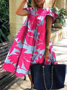Сменные платья Фантастическое платье-туника из полиэстера с цветочным принтом Rose Jewel Neckline