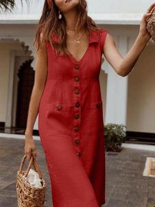 فستان صيفي أحمر بفتحة رقبة V بوليستر قطن