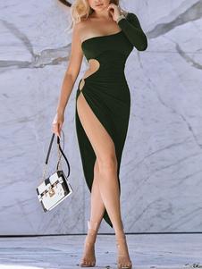 Clube vestido assimétrico pescoço ilhós sexy mangas compridas poliéster preto vestido sexy